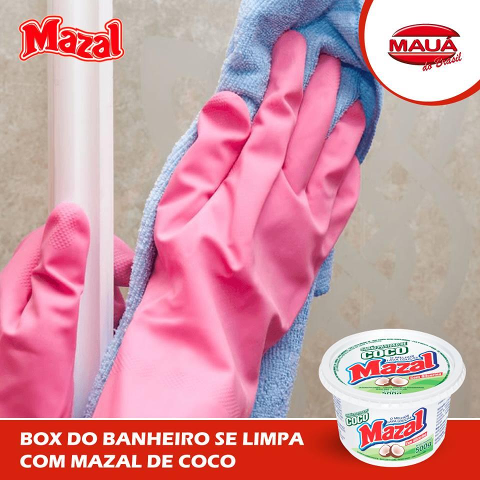 Para ter um box limpo e brilhando, sabão pastoso Mazal de coco