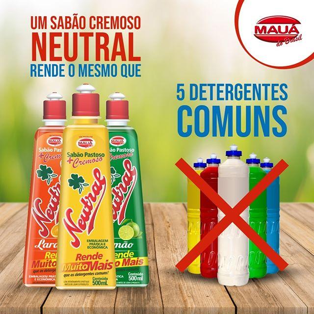 Um sabão cremoso Neutral rende o mesmo que 5 detergentes comum